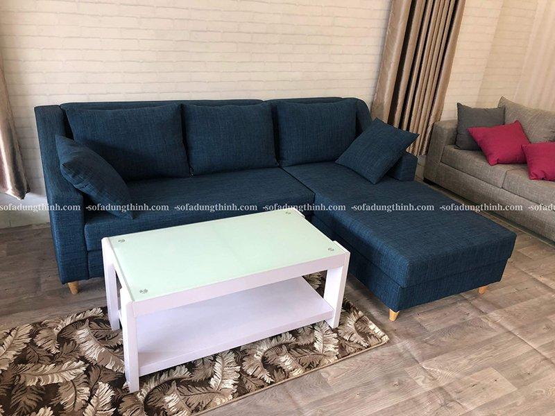 sofa chữ L màu xanh nước biển đậm