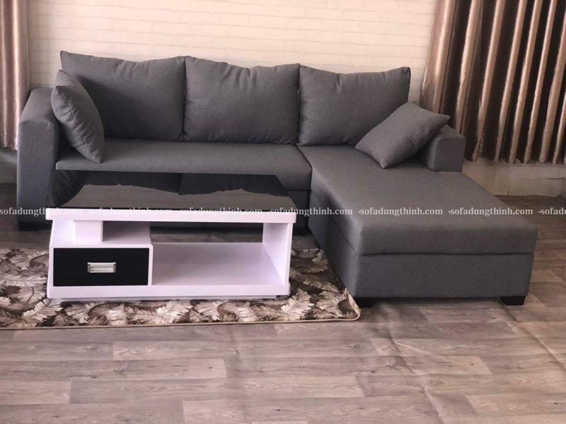 sofa chữ L màu xám đậm giá rẻ