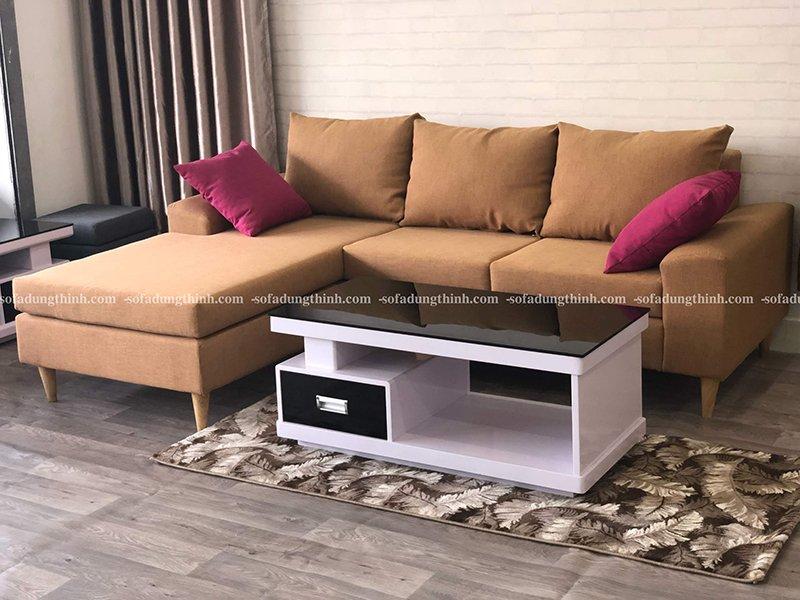 sofa chữ L màu nâu đất