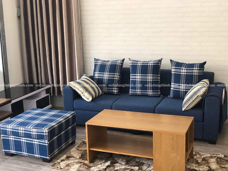 sofa băng kèm đơn màu xanh dương