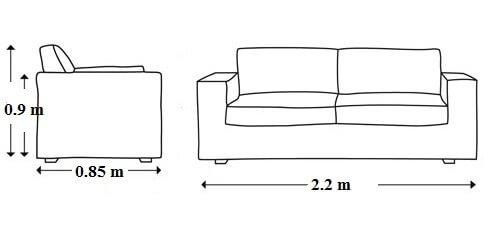 Kích thước Sofa góc chữ L phổ biến cho phòng khách